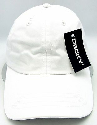e62649f034c9c Distressed Unconstructed Cap DECKY Dad Hat Curved Visor Adjustable White NWT
