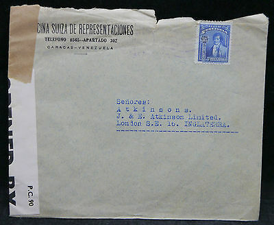 Venezuela: 1941 Cover to London, Censor No 629 Tape To One End