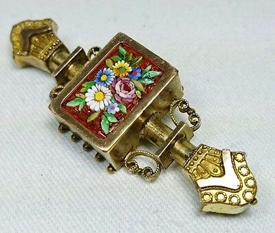 Victorian Flower Micro Mosaic Gold Filled Collar Brooch Pin, Italy, Grand Tour