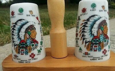Vintage Early American Head Dress Salt & Pepper Shakers w/stand Made in Japan