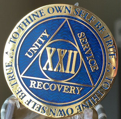 22 Year AA Medallion Blue Gold Plated Alcoholics Anonymous Sobriety Chip Coin