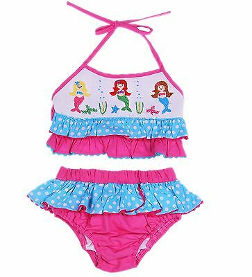 Boutique Little Girls and Toddler Smocked Mermaid 2 Pc Cotton Swimsuit