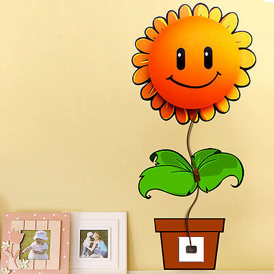 3D Sunflower Night Light DIY Wallpaper Stickers Wall Lamp Baby Room Bedroom
