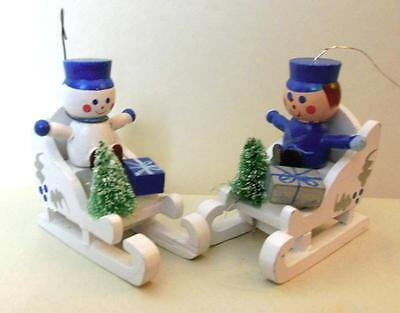 "Vintage  2 Wood Ornaments Snowman and Soldier Sleds 3""  Taiwan  Xmas"