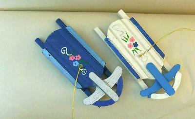 "Vintage  2 Wood Ornaments Sleds  4.5"" Blue & White Taiwan  Xmas"