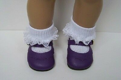 """PURPLE Classic EZ2 Close Doll Shoes For 18"""" American Girl (Debs)"""