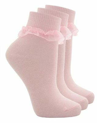 6 Pairs Childrens Girls & Baby's Frilly Lace Top Cotton Rich School Socks - Pink