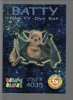TY beanie Babies Series 3 Wild Cards #43 Batty The Ty-Dye Bat Teal Foil