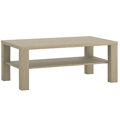 Champagne Light Oak Effect Large Coffee Table with Shelf 110cm 67cm 50cm