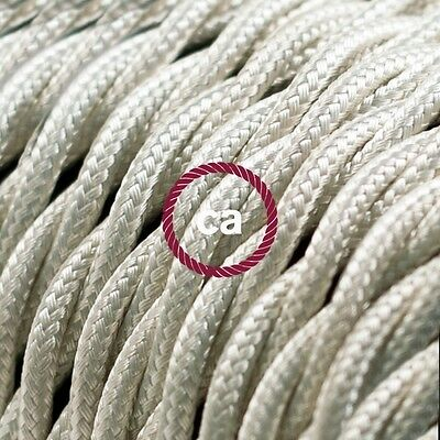 TM00 Ivory Twisted Electric Cable covered by Rayon fabric