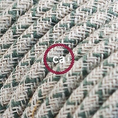 RD62 Green Thyme CrissCross Round Electric Cable covered by Cotton and Linen