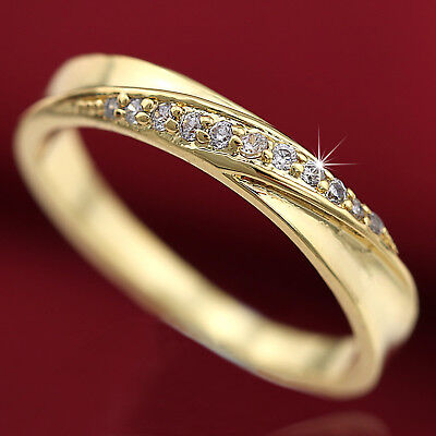 18K Gold Gf Infinity Twisted Pave Simulated Diamond Engagement Wedding Band Ring