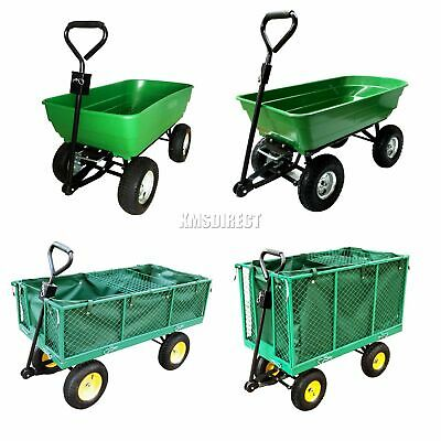 FoxHunter Heavy Duty Garden Dump Truck Tipping Trailer Trolley Cart Wheelbarrow