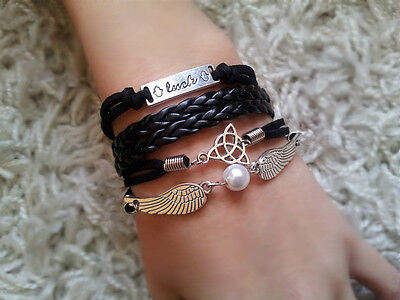 Beautiful Luck Pearl Angel Wings Love Braided Leather Bracelet Gift *UK*