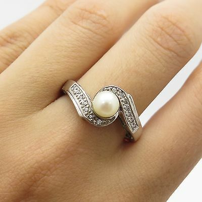 Vintage Sterling Silver Genuine Pearl White C Z Women's Curve Ring Size 8.5