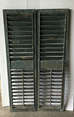 Pair Vtg House Window Wood Louvered Shutter Shabby Old Chic 17 x 63 1257-16