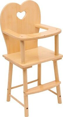 Wooden Dolls Highchair Nature Girls Gift Top Quality Feed the Doll or Teddy NEW