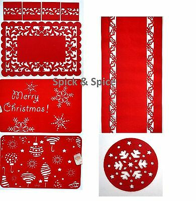 Poly Felt Red Tableware Christmas Snowflake Table Runner, Placemats & Coasters