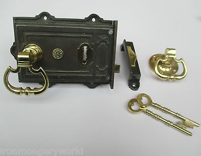 Vintage Victorian Style Cast Iron Rim Lock + Brass Carriage Rim Door Handles