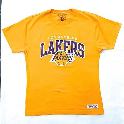 Los Angeles Lakers Mitchell And Ness Tshirt Yellow 100% Authentic