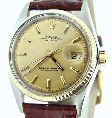Rolex Datejust Mens 2Tone 14K Yellow Gold & Stainless Steel Watch Champagne Dial