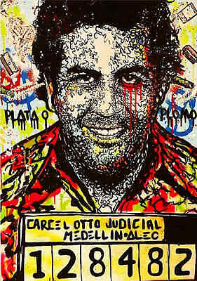 Alec Monopoly Oil Painting on Canvas Urban art Wall Decor Pablo Escobar 28x40""