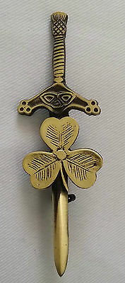"Celtic Kilt Pin Irish Shamrock Antique Finish 4""/Antique Kilt Pins Scottish Wear"