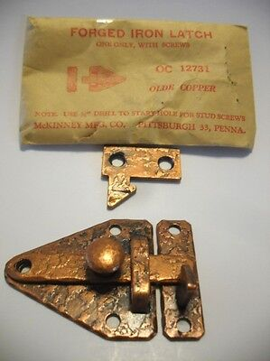 Vintage NOS COPPER Plated Steel BAR LATCH Cabinet Door Flush Mount Type McKINNEY