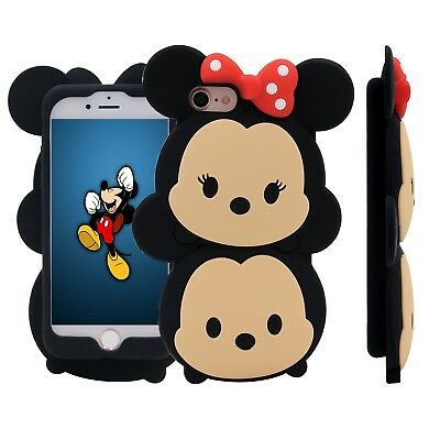 iPhone SE 5 6 7 8 Plus Cute 3D Disney Minnie and Mickey Mouse Soft Silicone Case