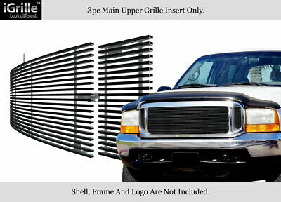 99-04 Ford F250/F350/F450/F550 SD/00-04 Excursion Black Stainless Billet Grille