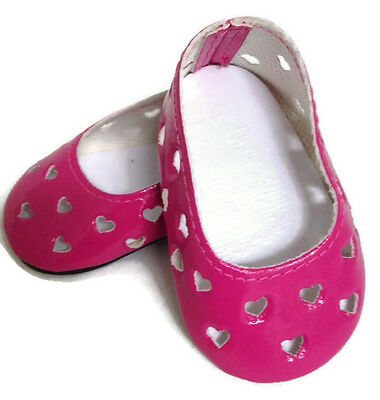 "Pink with Heart Cutouts Dress Shoes made for 18"" American Girl Doll Clothes"