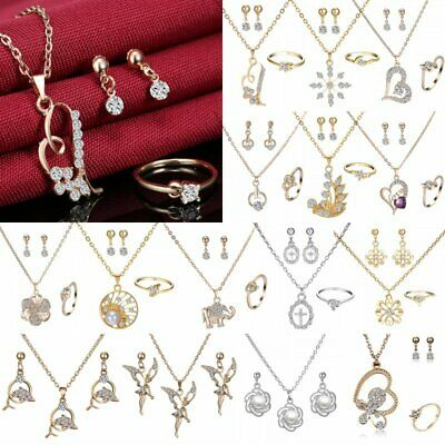 Wedding Bridal Pearl Crystal Pendant Chain Necklace Earrings Ring Jewelry Set
