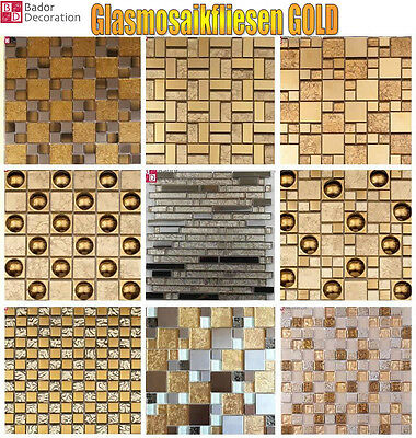 Mosaic tiles Glass - stone Natural Gold