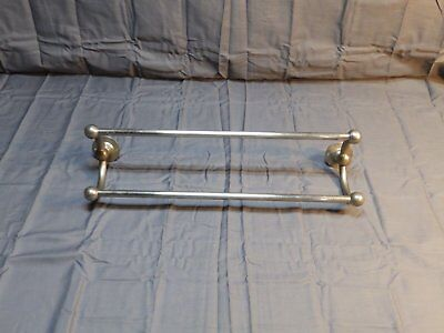 "Antique 18"" Nickel Brass Double Towel Bar Old Vtg Brasscrafters Bathroom 1272-16"
