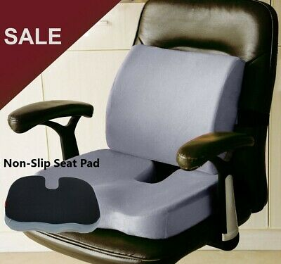 Memory Foam Coccyx Orthoped Seat Pad Back Support Cushion Lumbar Comfort Chair