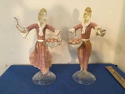Vintage Murano Aventurine and Pink Glass Figures of Man and Woman Large!