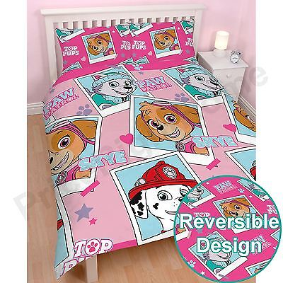 Paw Patrol Stars Double Duvet Cover Set - Childrens Bedding Girls New