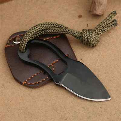 Mini Finger Paw Pocket Blade Self-Defense Survival Fishing Neck Knife + Sheath H