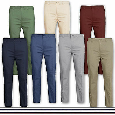 Mens Chino Trousers Cotton Regular Pants Casual Designer New