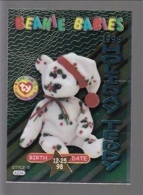 TY beanie Babies Series 3 Birthday Card 1998 Holiday Teddy Teal #31