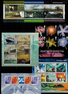 Complete Year Set 2004 Miniature Sheets  Ms2423 Ms2454  Ms2462  Mss132 Ms2501