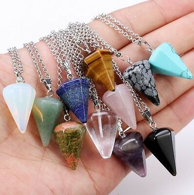 Natural Gemstone Crystal Healing Chakra Reiki Silver Stone Bead Pendant Necklace