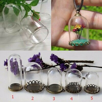 2pcs Mini Glass Dome Cabochon Wishing Bottle Jewelry Pendants Crafts Accessories