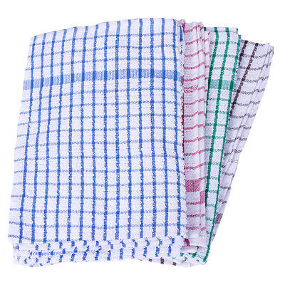 Terry Cotton Check Tea Towel - Assorted Colours - Pack of 10