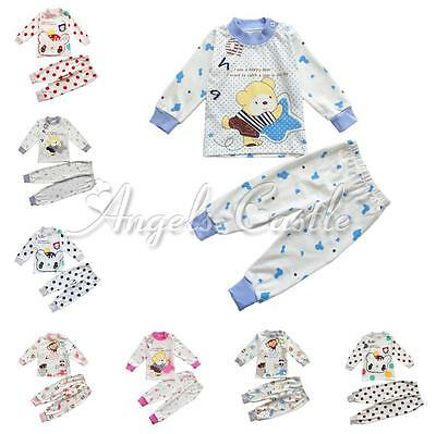 New Cartoon Sleepwear 2PCS Baby Kids Boys Girl Cotton Nightwear Pyjamas Set 6M-3