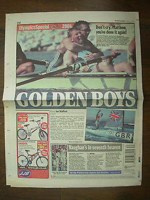 VINTAGE NEWSPAPER DAILY MAIL AUGUST 22nd 2004 GB OLYMPIC GOLDEN BOYS