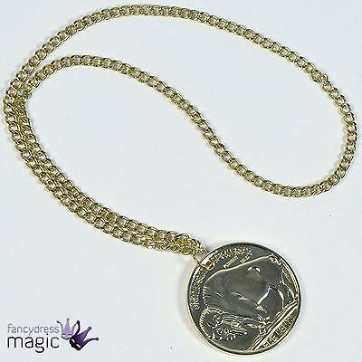 New Gold Medallion Necklace 70s 80s Pimp Gangster Fancy Dress Costume Accessory