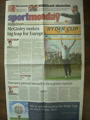 VINTAGE NEWSPAPER DAILY TELEGRAPH SEPTEMBER 30th 2002 EUROPE WIN RIDER CUP GOLF