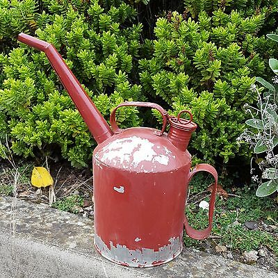 Watering Can Red Metal Jug Tin Industrial Shabby Chic Vintage Style