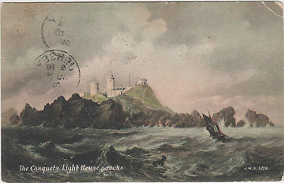 UK Old Postcard The Casquets Light House and Rocks Rough Sea (938)